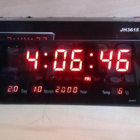 Электронные светодиодные настенные часы LED NUMBER CLOCK 3615 RED