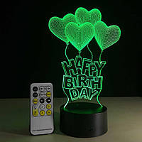 3D Светильник HAPPY BIRTH DAY
