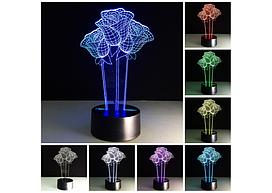 3D Светильник 3 розы