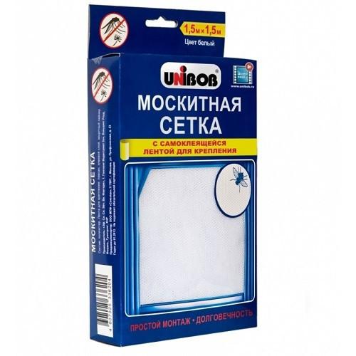 Москитная сетка на окно с лентой для крепления Unibob | белая мелкоячеистая антимоскитная сетка Юнибоб