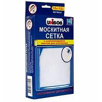 Москитная сетка на окно с лентой для крепления Unibob | белая мелкоячеистая антимоскитная сетка Юнибоб, фото 1