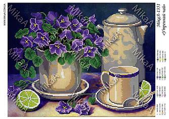 """Схема для частичной зашивки бисером - """"Утренний чай"""" А3"""
