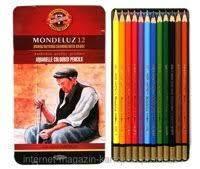 Карандаши акварельные 12 цветов Koh-i-noor Mondeluz 3722 металлический пенал