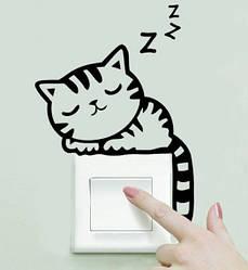 """Наклейка на стену, виниловые наклейки, украшения стены наклейки """"спящий Кот на выключатель, розетки"""" (20*14см)"""