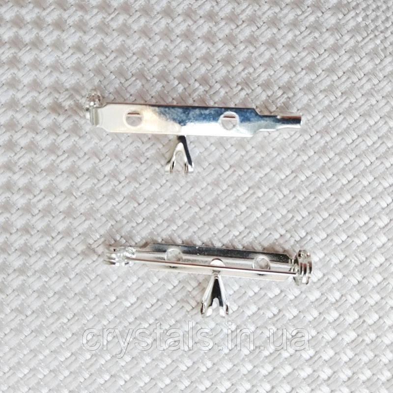 Основа для броши с бейлом 32х12 мм, посеребренная