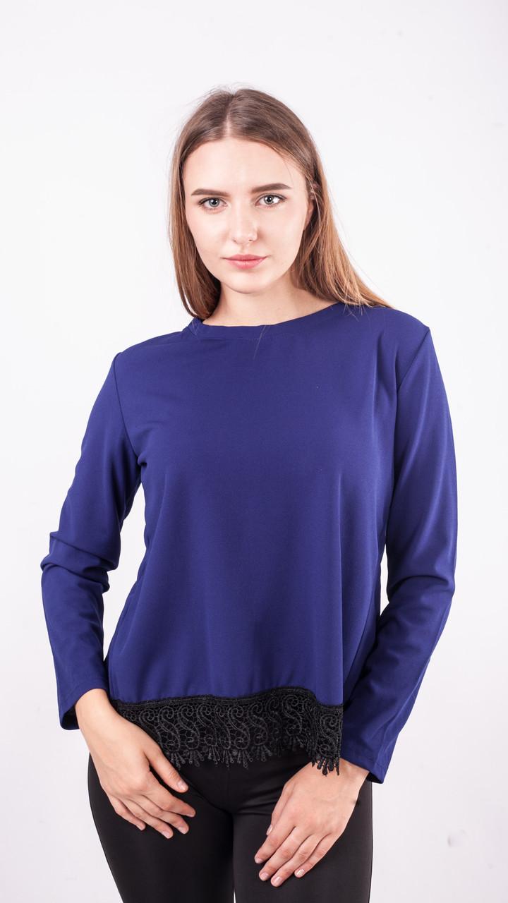 Блузка женская с длинным рукавом и чёрным кружевом (синий)