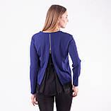 Блузка женская с длинным рукавом и чёрным кружевом (синий), фото 5