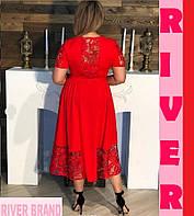 Нарядное женское платье большого размера  декорировано  вставками из изящного гипюра с 48 по 98, фото 2