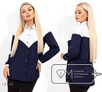 Двухцветная рубашка женская - Белый, фото 1