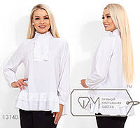Однотонная блузка женская из софта - Белый, фото 1