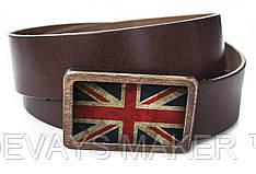 """Ремень кожаный, """"Britain flag"""""""