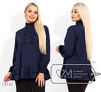 Однотонная блузка женская из софта - Синий, фото 1
