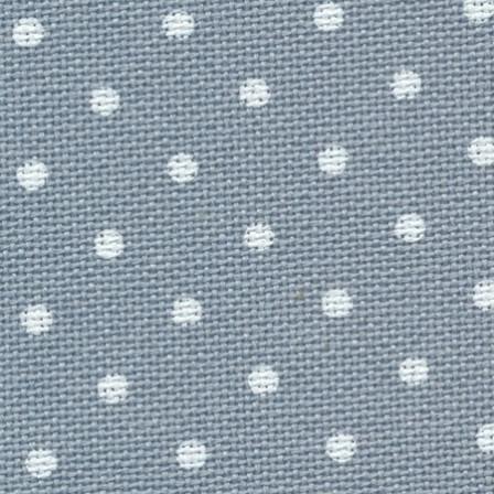 Тканина Zweigart (Murano Lugana) Мурано Лугана 32 ct - синя з білим горошком
