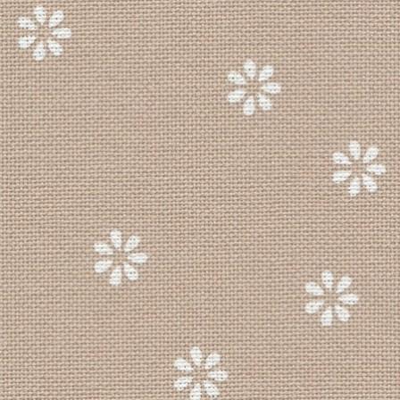 Тканина Zweigart (Murano Lugana) Мурано Лугана 32 ct - бежева з білими квіточками