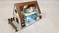 Домик для кукол LOL  Сельский Домик с мебелью, текстилем, лестницей  и светом 2 этажа, 2 комнаты 26 см