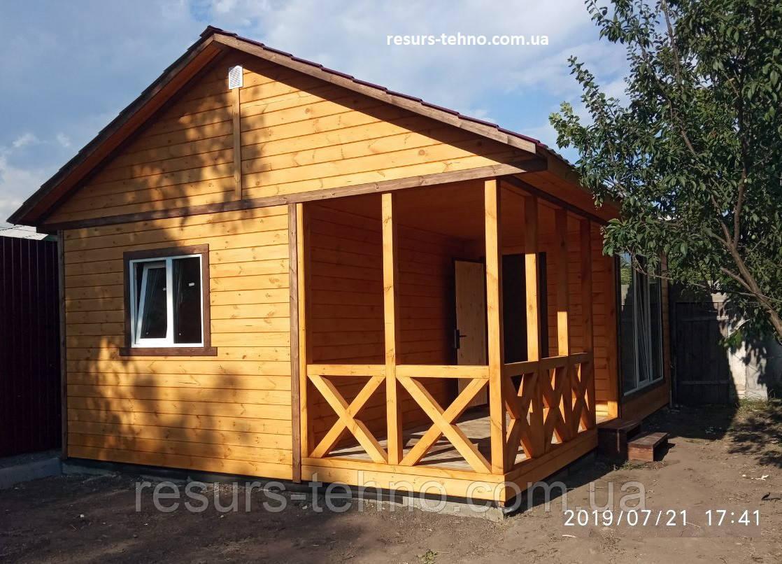 Дачный домик  деревянный сборный 8,0м х 5,3м с террассой