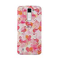 Чехол с рисунком Printed Silicone для LG K8 K350E Фламинго
