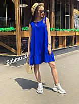 Стильное платье сарафан на лето с воланом костюмка, фото 3