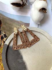 Красиві великі сережки золоті, крупные треугольные серьги золото большие