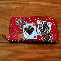 Модный кошелек Dolce & Gabbana красный натуральная кожа Качество клатч Красивый портмоне Дольче Габбана копия