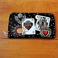 Трендовый кошелек Dolce & Gabbana черный натуральная кожа Качество клатч VIP портмоне Дольче Габбана копия