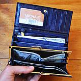 Брендовый кошелек Michael Kors синий натуральная кожа Качество клатч Стильный портмоне Майкл Корс копия, фото 6