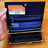 Брендовый кошелек Michael Kors синий натуральная кожа Качество клатч Стильный портмоне Майкл Корс копия, фото 5