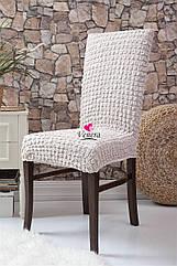 Чехлы натяжные на стулья  без оборки MILANO  кремовые (набор 6 шт.)