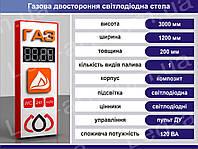 Световая рекламная стела газовая со светодиодными табло 3000 х 1200 мм
