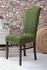 Чехлы натяжные на стулья  без оборки MILANO зеленые (набор 6 шт.)