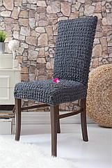 Чехлы натяжные на стулья  без оборки MILANO графит (набор 6 шт.)