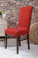 Чехлы натяжные на стулья  без оборки MILANO красные (набор 6 шт.)