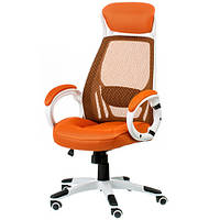 Кресло офисное руководителя Briz orange/white E0895