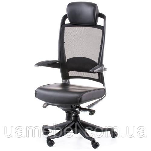 Кресло для руководителя FULKRUM BLACK LEATHER, BLACK MESH E0642