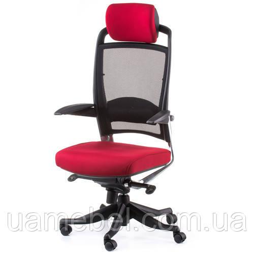 Кресло руководителя FULKRUM DEEPRED FABRIC, BLACK MESH E0635