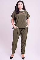 Красивый летний штапельный костюм Николь большого размера 54-62 хаки, фото 1