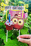 Топпер Happy Birthday, Топпер 1 годик , Топер happy birthday с принтом совы, топпер в блестках, топпер 1 годик, фото 5