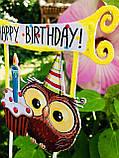 Топпер Happy Birthday, Топпер 1 годик , Топер happy birthday с принтом совы, топпер в блестках, топпер 1 годик, фото 2