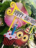 Топпер Happy Birthday, Топпер 1 годик , Топер happy birthday с принтом совы, топпер в блестках, топпер 1 годик, фото 3