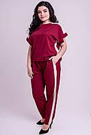✔️ Модный летний штапельный костюм с лампасами Нури большого размера 54-62 бордовый, фото 1