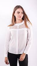 Блузка женская с кружевной вставкой (белый)