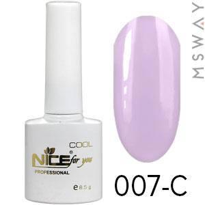NICE Гель-лак Cool белый флакон 8.5ml Тон 007-C пастель светло лиловая эмаль, фото 2