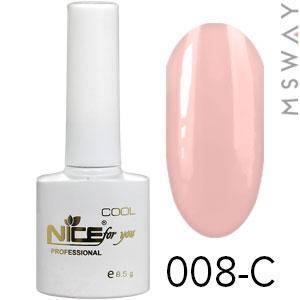 NICE Гель-лак Cool белый флакон 8.5ml Тон 008-C пастель светло розово карамельная эмаль, фото 2