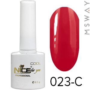 NICE Гель-лак Cool белый флакон 8.5ml Тон 023-C темная красно ягодная эмаль