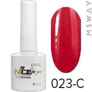 NICE Гель-лак Cool белый флакон 8.5ml Тон 023-C темная красно ягодная эмаль, фото 2