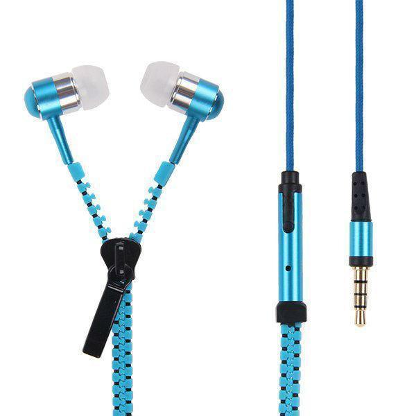 Наушники Zipper (молния, змейка) голубой