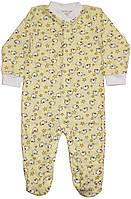 Комбинезон человечек детский, лимонный с барашками, рост 80 см