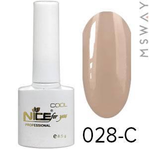 NICE Гель-лак Cool белый флакон 8.5ml Тон 028-C нюд серо натуральная эмаль, фото 2