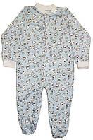 Комбинезон человечек детский, голубой с барашками, рост 86 см