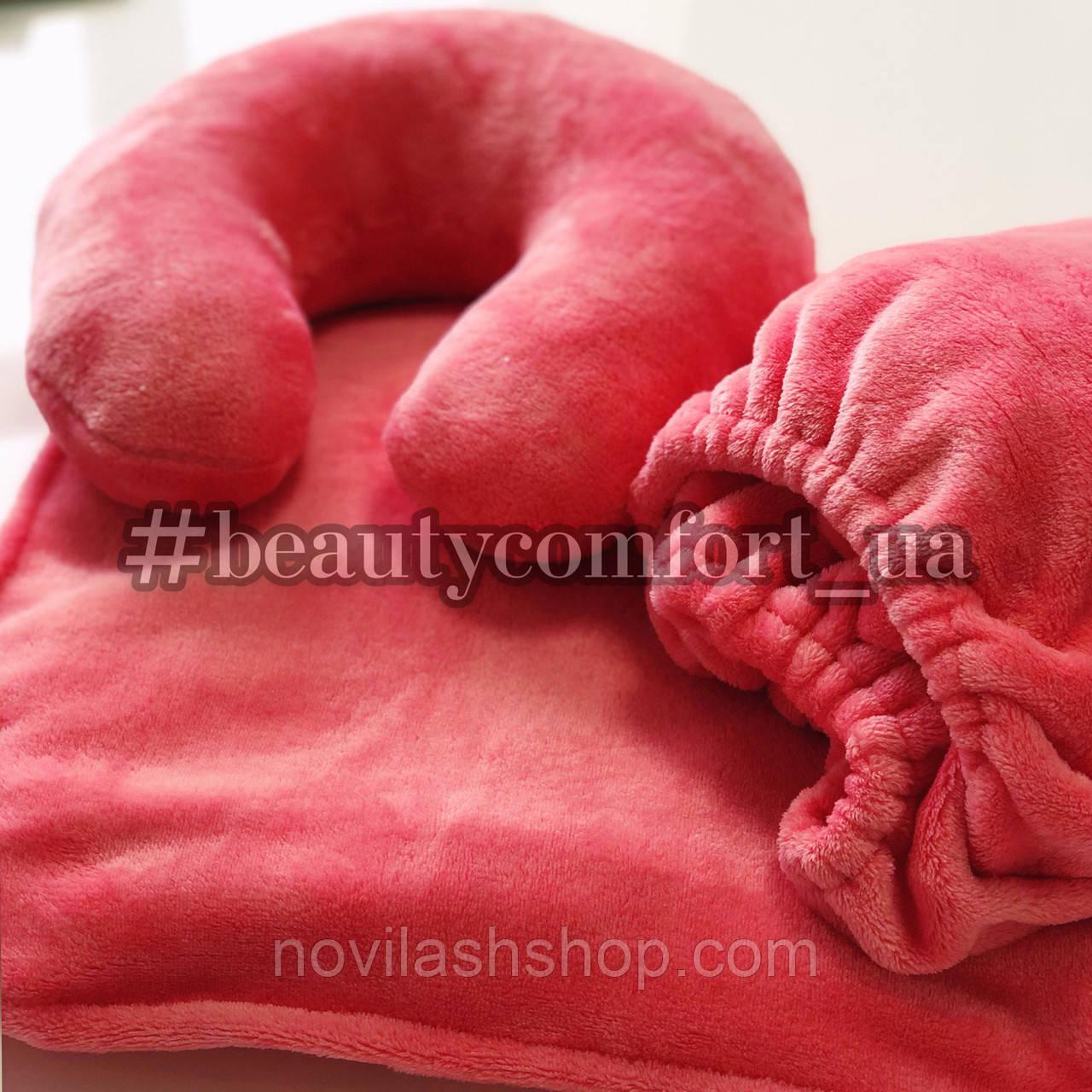 Сет 3в1 махра: чехол на кушетку, подушка, плед (персиковый/коралл)